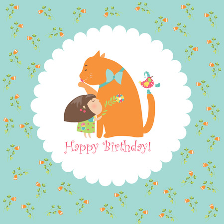 kitten cartoon: Little girl hugging her kitten. Vector greeting card