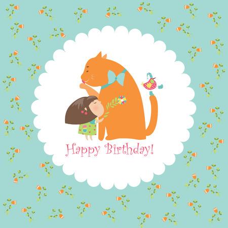 Little girl hugging her kitten. Vector greeting card