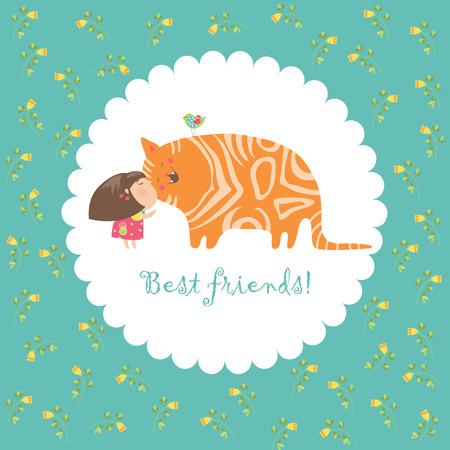 bird illustration: Little girl kissing her kitten. Vector greeting card Illustration