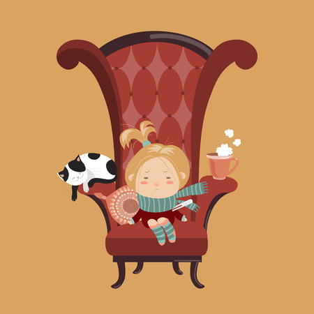 sickness: Cute girl sick cold sitting in the big chair. Vector illustration