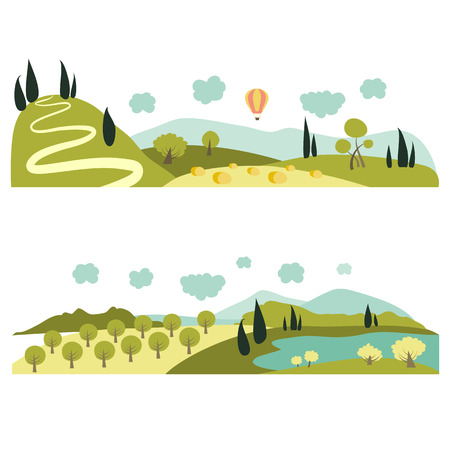 hay field: Summer landscapes. Vector illustration in flat style