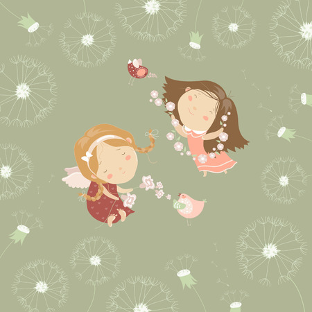 angel girl: Two little angels with flowers. Vector greeting card