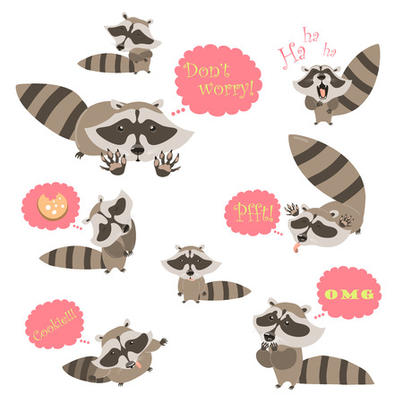 ha: Collection of funny raccoons. Vector isolated illustration Illustration