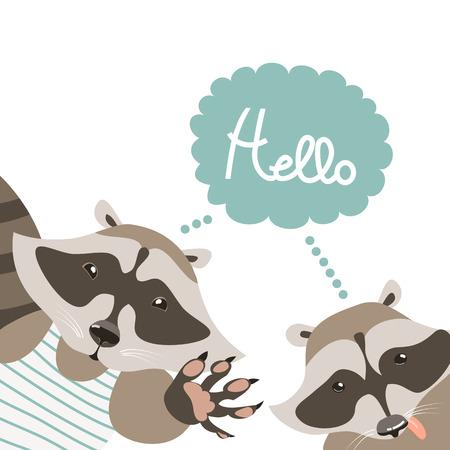 say hello: Vector cartoon characters, funny raccoons say hello