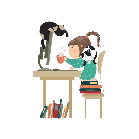 Little girl sitting at computer and drinking coffee. Vector isolated illustration Illustration