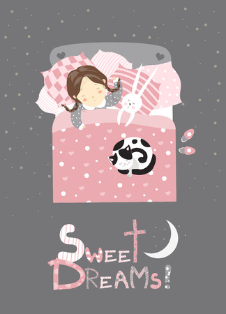 cartoon bed: Little girl sleeping with cat. vector illustration