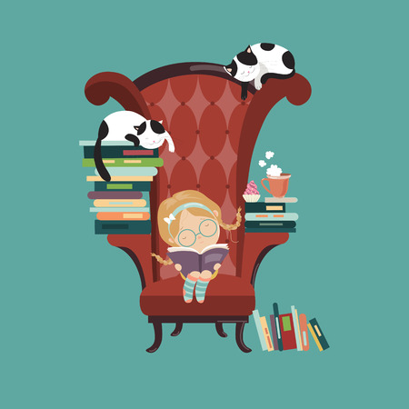 reads: Little girl reading a book. Vector isolated illustration