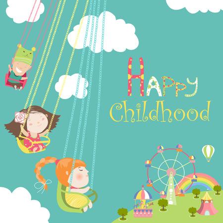 Children ride on the carousel. Vector illustration