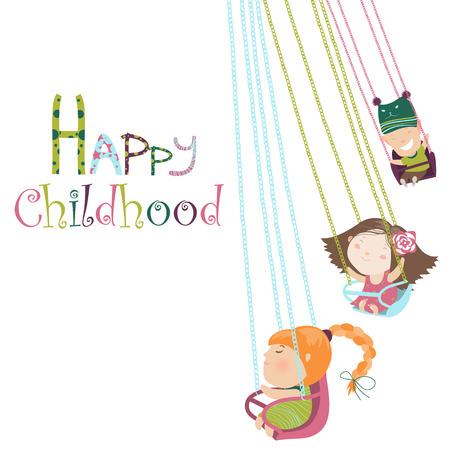 amusement park rides: Children ride on the carousel. Vector illustration
