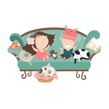 Happy kids sitting on the couch. Vector isolated illustration  イラスト・ベクター素材