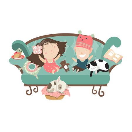 Glückliche Kinder sitzen auf der Couch. Vector isolierte Darstellung Standard-Bild - 41669665