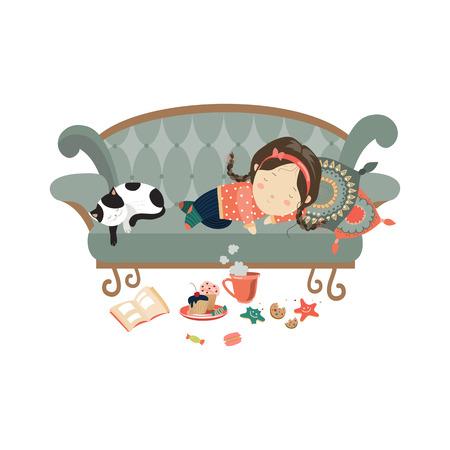 perezoso: Niña durmiendo con el gato perezoso. Vector ilustración aislada