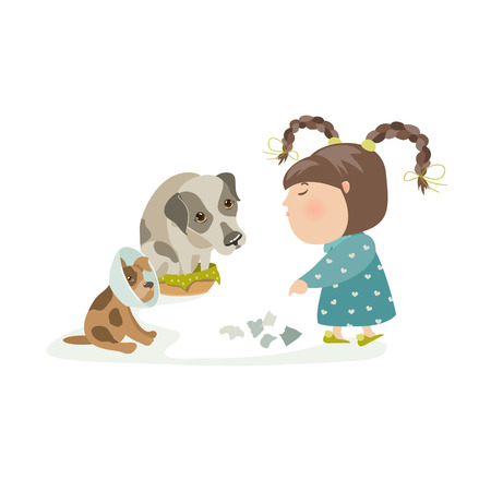 resentful: Little girl punishing dogs. Vector isolated illustration