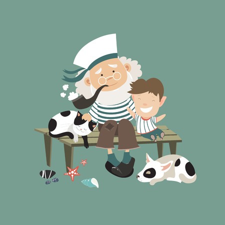 Old sailor sitting on bench with grandson. Vector illustration Illustration