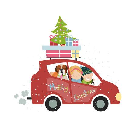 자동차로 크리스마스 가족 여행. 벡터 격리 된 그림