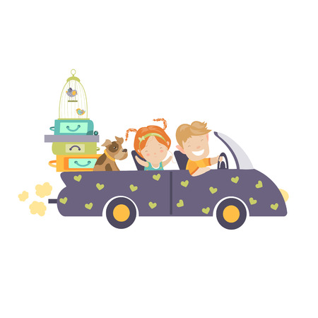 Couple traveling by car. Happy woman and man waving hands in car with a lot of bags. Vector colorful illustration in flat design style