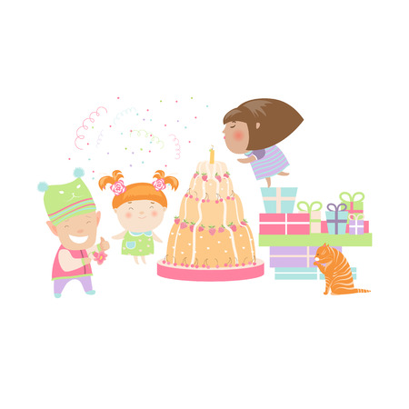 torte: Kids celebrating Birthday with gifts and cake. Vector isolated illustration