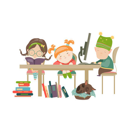 tarea escolar: Amigos hacer la tarea. Ilustración vectorial de niño y niñas que hacen su preparación.