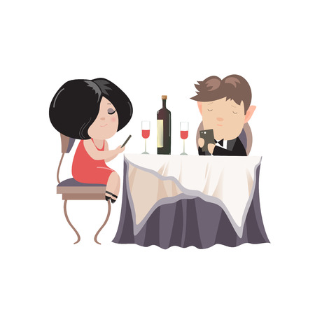 obsessed: Romantic couple dinner, looking at their smart phones. Smart phone addicted people. Modern life concept. Vector illustration Illustration