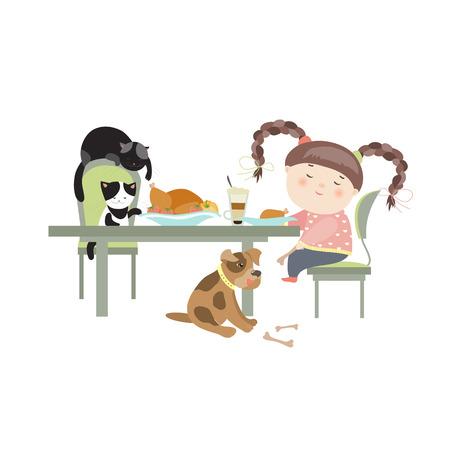 girl home: Dinner with pets, girl feedind the puppy, while cats trying to steal chicken meat from table. Vector isolated illustration