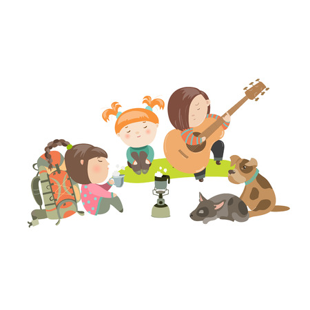 cartoon cute: Kids on a Camping Trip with Dogs. Vector isolated illustration