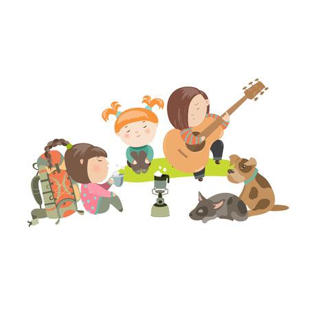 nene y nena: Niños en un viaje de campamento con los perros. Vector ilustración aislada
