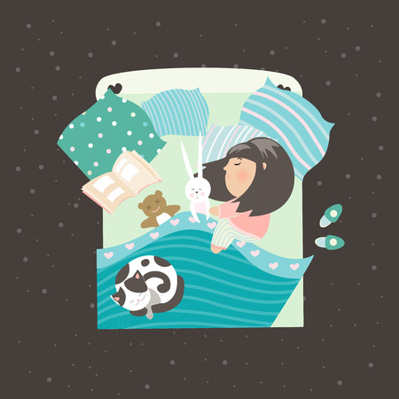 blanket: Little girl sleeping with cat. Vector illustration