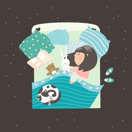 enfant qui dort: Petite fille dormir avec un chat. Vector illustration