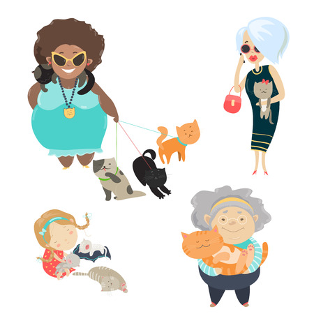 funny cats: Funny cats with their owners. Vector flat illustration Illustration