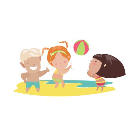 arena: Niños jugando voleibol de playa. Vector ilustración aislada Vectores