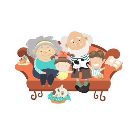 조부모와 손자. 자신의 손자와 함께 행복 한 조부모. 벡터 illustartion