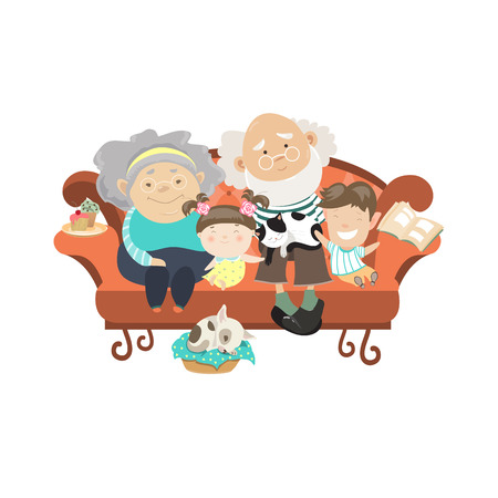 persona mayor: Abuelos y nietos. Abuelos felices con sus nietos. Vector illustartion