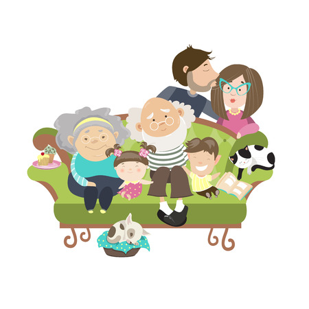 dad son: Happy family with mother dad son daughter grandfather and grandmother. Vector isolated illustration