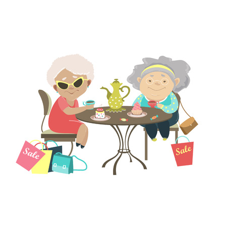 Two old women talking in a cafe after shopping. Vector isolated illustration