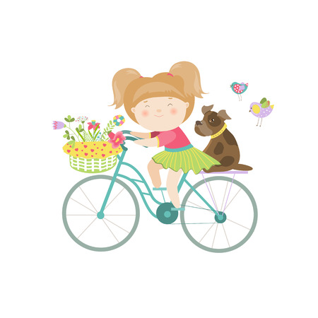 Cute beautiful girl in dress rides a bike. Vector isolated illustration