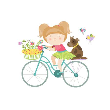 Nette schöne Mädchen im Kleid reitet ein Fahrrad. Vector isolierte Darstellung Standard-Bild - 42926867