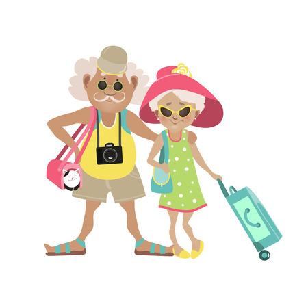 牽引で荷物と一緒に旅行老夫婦のイラスト。ベクトル図  イラスト・ベクター素材