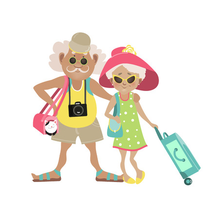 Illustration of an Elderly Couple Traveling Together with Luggage in Tow. Vector illustration