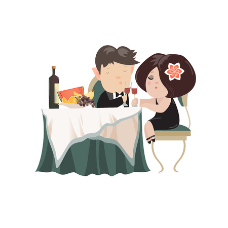 young adult: Young adult couple drinking red wine after romantic dinner together in elegant restaurant. Vector isolated illustration