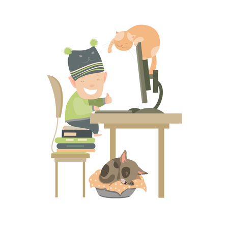 working animals: Little boy sitting at computer. Vector isolated illustration