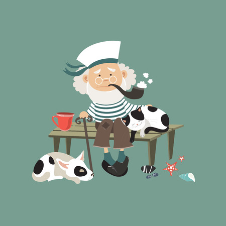 Old sailor sitting on bench with cat and dog. Vector illustration