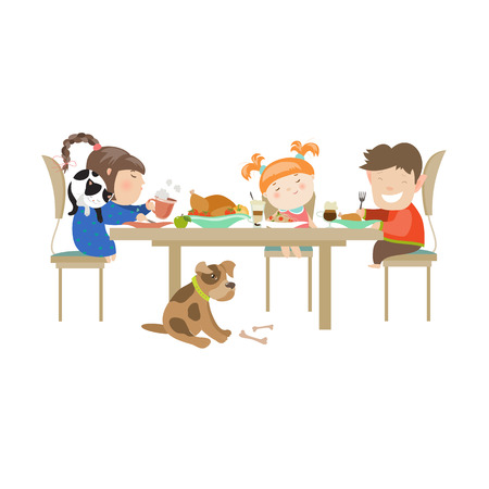 Children eating on a white background. Vector isolated illustration Иллюстрация