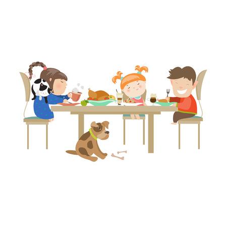 Kinder essen auf weißem Hintergrund. Vector isolierte Darstellung Standard-Bild - 43345015