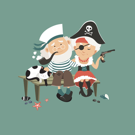 Old sailor sitting on bench with his beloved pirate. Vector illustration