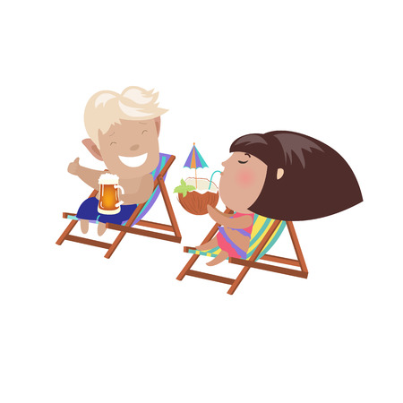 deck chair isolated: Couple drinking beverages sitting in the deck chairs. Vector isolated illustration Illustration