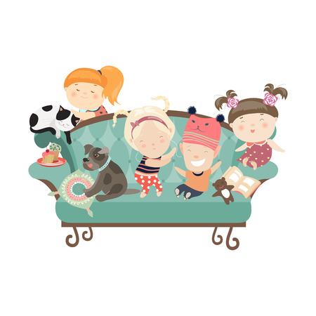 Gelukkige kinderen zittend op de bank. Vector geïsoleerde illustratie