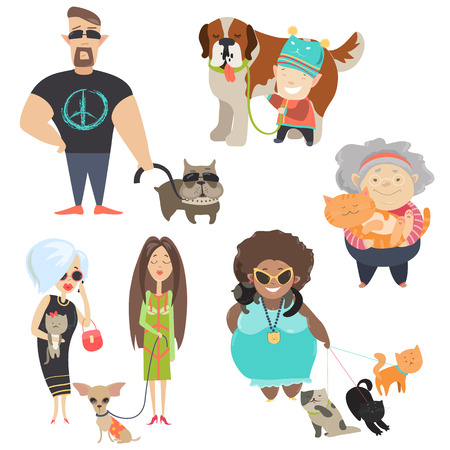dog leash: Cute pets with their owners. Vector flat illustration