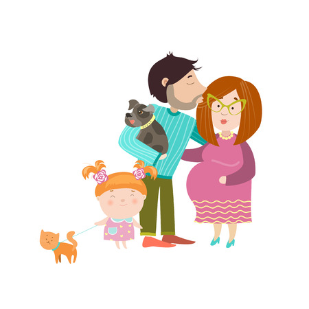 Happy parents with pregnant belly. Vector isolated illustration