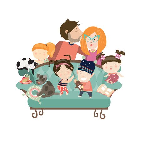 Happy kids with parents and pets. Vector isolated illustration