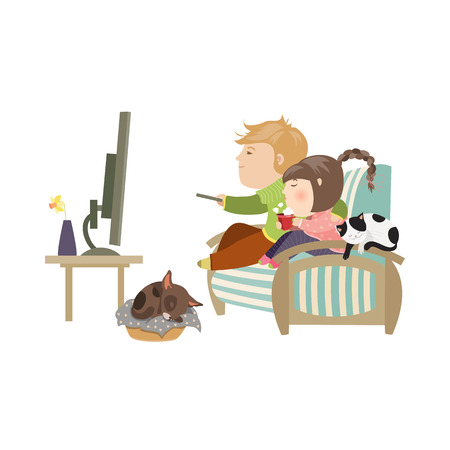 tv screen: Couple watching television sitting on the couch. Vector isolated illustration